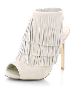 Grey Suede Fringe Peeptoe Heeled Boots  | New Look