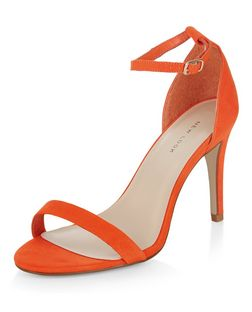 Bright Orange Suedette Ankle Strap Heels | New Look