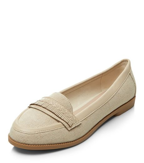 Teens White Canvas Fringed Loafers | New Look