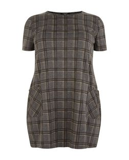 Plus Size Grey Check Tunic Dress  | New Look