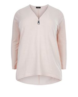 Plus Size Shell Pink Fine Knit Zip Front Top  | New Look