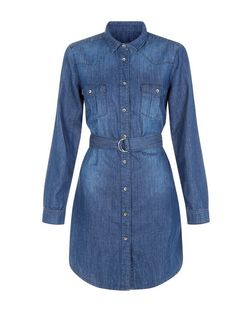Anita and Green Blue Denim D-Ring Belted Shirt Dress | New Look