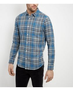 Blue and Grey Check Single Pocket Long Sleeve Shirt  | New Look