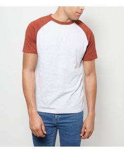 Bright Orange Raglan T-Shirt  | New Look