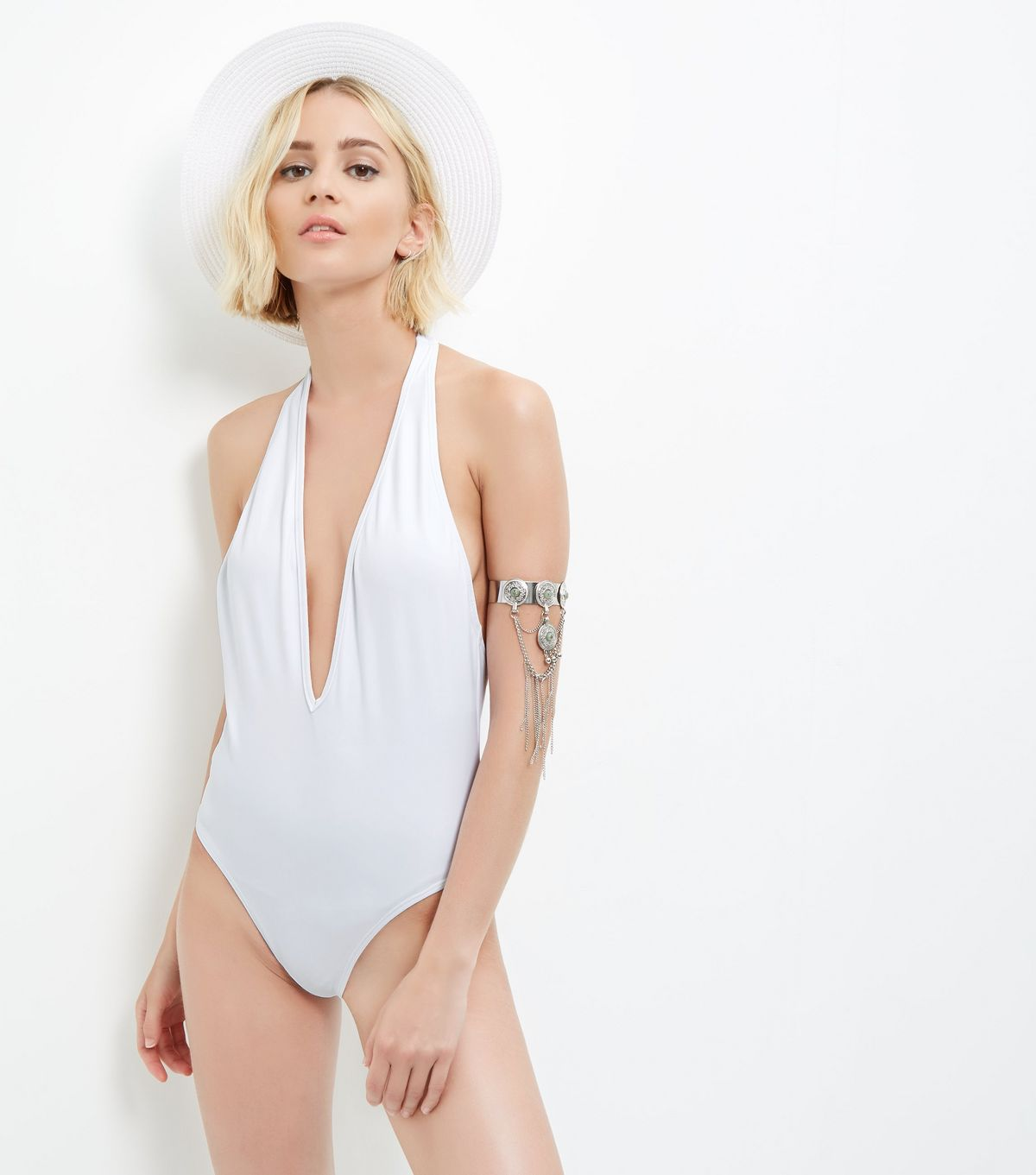 White Plunge Halter Neck Swimsuit | New Look