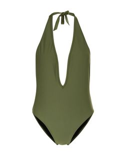 Khaki Plunge Halter Neck Swimsuit | New Look
