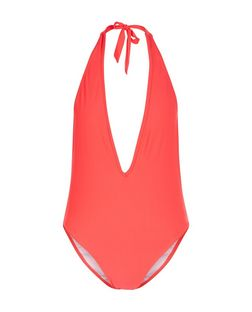 Red Plunge Halter Neck Swimsuit | New Look
