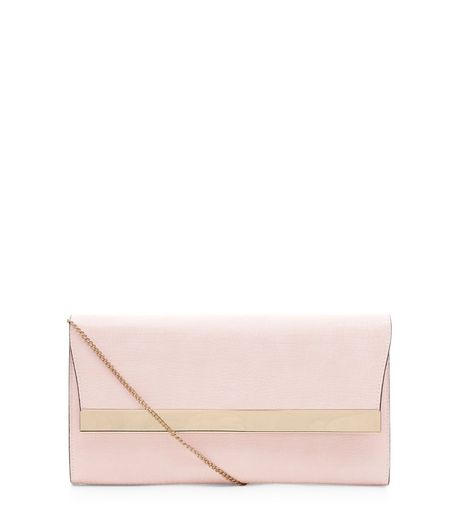 Pink Snakeskin Textured Clutch  | New Look