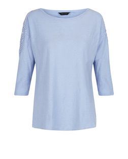 Blue Crochet Trim 3/4 Sleeve Top  | New Look
