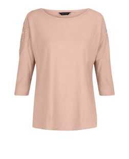 Shell Pink Crochet Trim 3/4 Sleeve Top  | New Look