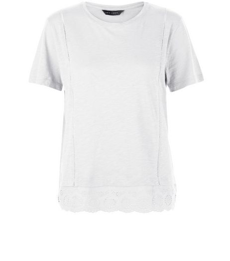White Crochet Hem T-Shirt  | New Look