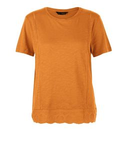 Tan Crochet Hem T-Shirt | New Look