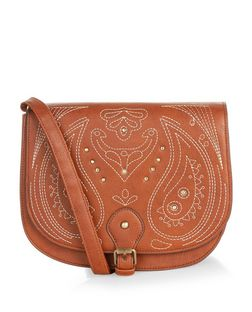 Tan Embroidered Saddle Bag | New Look