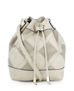 Cream Patchwork Duffle Bag  | New Look