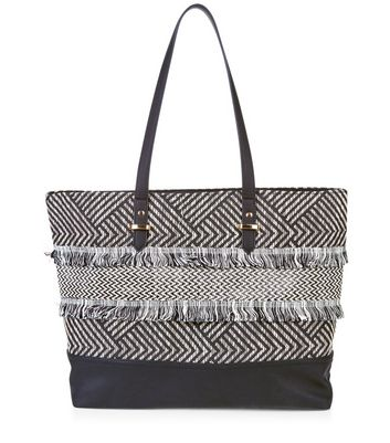 black-textured-fray-trim-shopper-bag