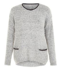 Mela Grey Fluffy Pocket Jumper | New Look