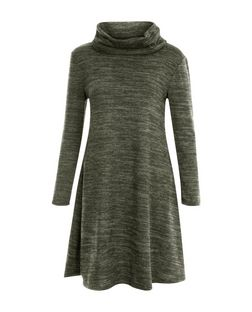 Khaki Cowl Neck Long Sleeve Swing Dress | New Look