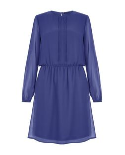 Blue Pleated Front Long Sleeve Skater Dress | New Look