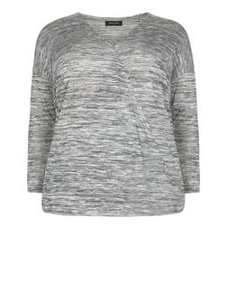 Curves Grey Fine Knit Wrap Front Top  | New Look