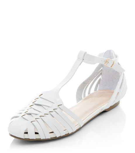 White Woven T-Bar Sandals  | New Look