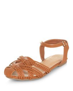 Tan Plaited Ankle Strap Sandals  | New Look