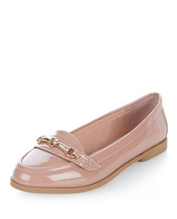Nude Patent Metal Trim Loafers | New Look