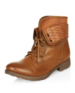 Tan Woven Cuff Lace Up Ankle Boots  | New Look