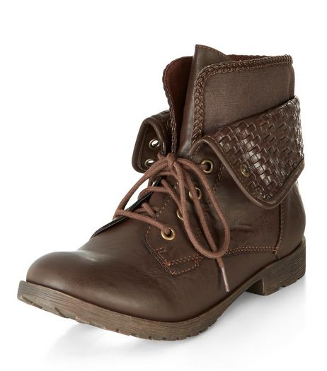 Dark Brown Woven Cuff Lace Up Ankle Boots  | New Look