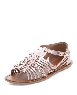 Rose Gold Leather Woven Peeptoe Sandals  | New Look