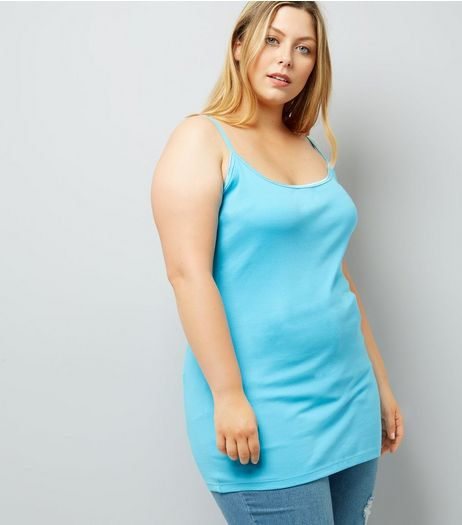 Curves Turquoise Scoop Neck Shoestring Vest | New Look