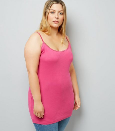 Curves Bright Pink Scoop Neck Shoestring Vest | New Look