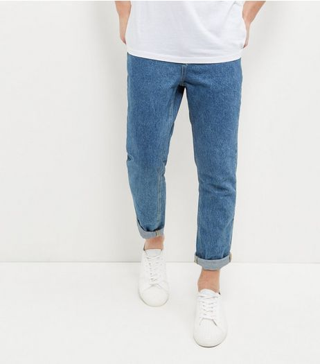 Blue Stonewash Tapered Jeans  | New Look