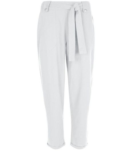 White Belted Slim Leg Trousers  | New Look