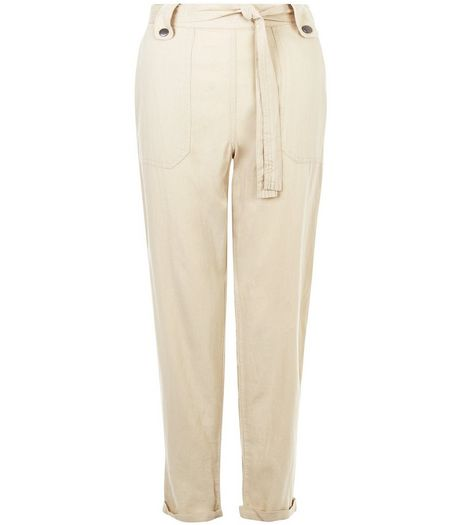 Stone Belted Slim Leg Trousers  | New Look