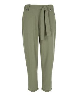 Khaki Belted Slim Leg Trousers  | New Look