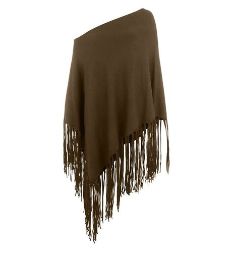 Khaki Bardot Neck Fringed Poncho  | New Look