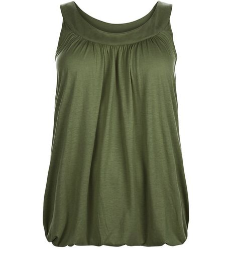 Curves Khaki Bubble Hem Vest | New Look