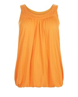 Curves Bright Orange Bubble Hem Vest | New Look