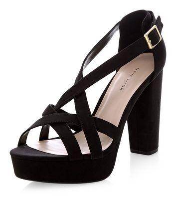 Sandalo  donna Black Suedette Strappy Platform Heels