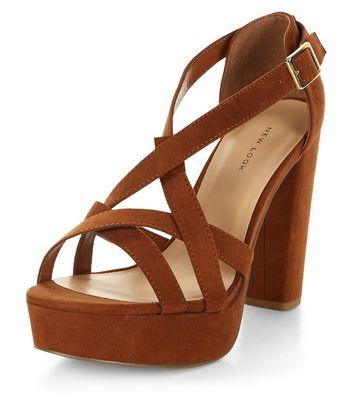 Sandalo  donna Tan Suedette Strappy Platform Heels
