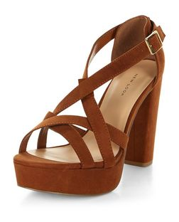 Tan Suedette Strappy Platform Heels  | New Look