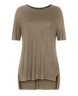 Khaki Raw Step Hem Boyfriend T-Shirt  | New Look