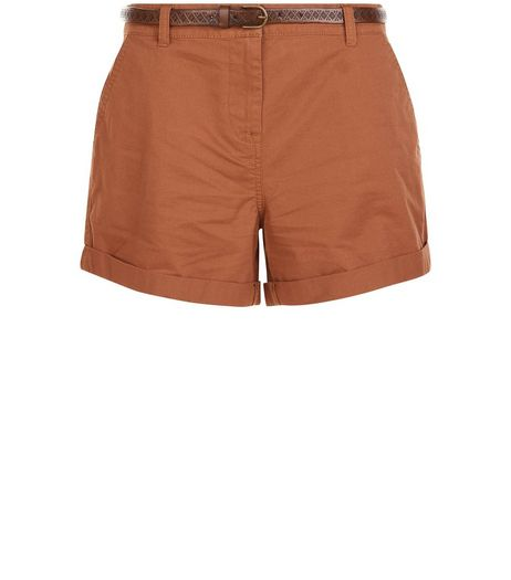 Tan Belted Chino Shorts  | New Look