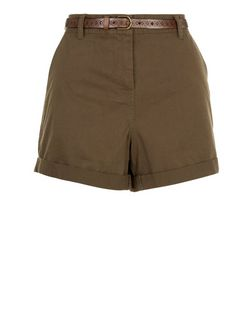Khaki Belted Chino Shorts  | New Look