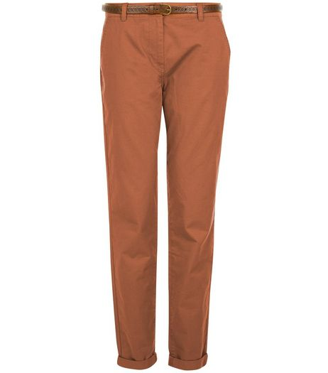 Tan Belted Chinos  | New Look
