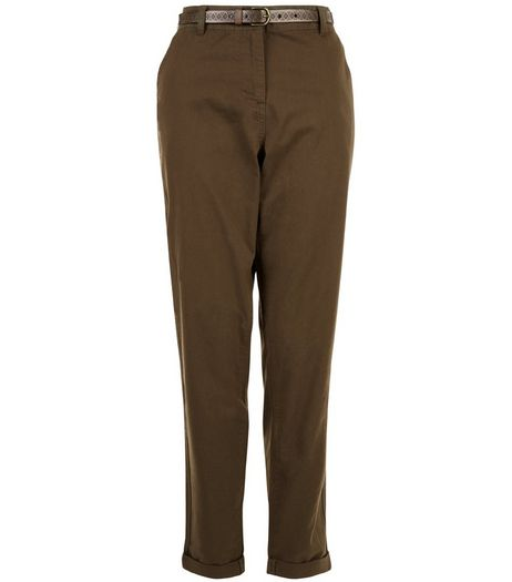 Khaki Belted Chinos  | New Look