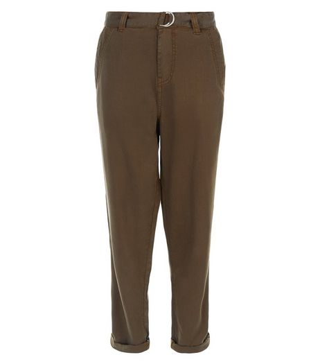 Khaki D-Ring Belted Roll Up Trousers  | New Look