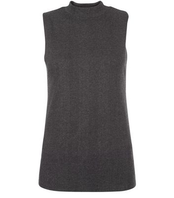 Dark Grey Ribbed Funnel Neck Sleeveless Top