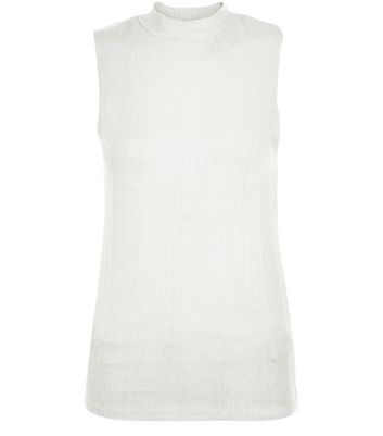 Cream Ribbed Funnel Neck Sleeveless Top
