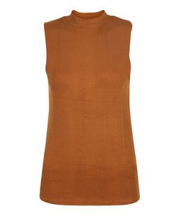 Tan Ribbed Funnel Neck Sleeveless Top  | New Look